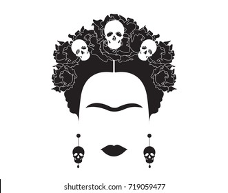 portrait of Mexican or Spanish woman minimalist Frida Kahlo with skulls earrings and flowers , vector isolated