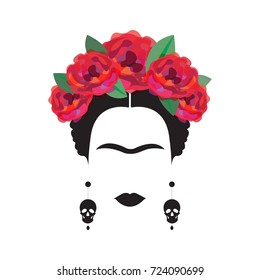 portrait of Mexican or Spanish woman minimalist Frida Kahlo with earrings skulls and red  flowers , vector isolated