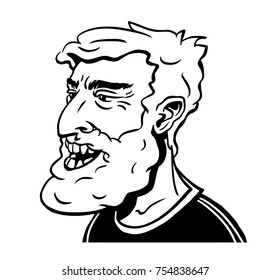 Portrait of a middle age smiling hipster. Hand-drawn vector illustration.