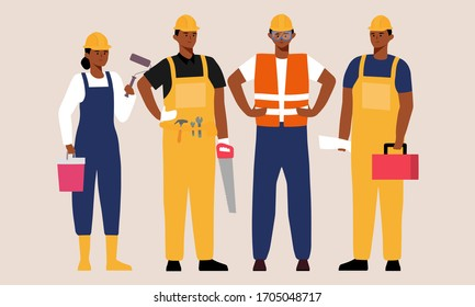 portrait of migrant workers. black people construction team. labor group workers in dark skin cartoon character illustration. set of professional workers. celebrate labor day flat vector design.