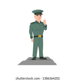 Portrait of Military or Policeman. Vector Isolated Graphic Design Element. Icon, avatar of soldier, officer, major, colonel . Clear, Pure, Simple, cartoon, comic style illustration. Male adult person