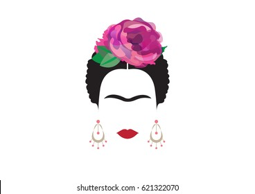 Portrait of modern Mexican or Spanish woman, minimal Frida , Vector illustration transparent background