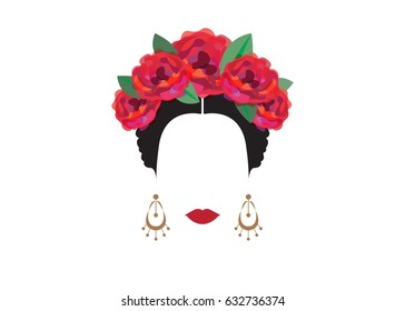 Portrait of modern Mexican or Spanish woman , With flower crowns , Vector transparent background