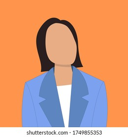 Portrait of modern woman with short haircut in suit. Faceless avatar of female character. Vector flat Illustration of office worker.