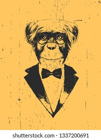 Portrait of Monkey in suit. Hand drawn illustration. Vector