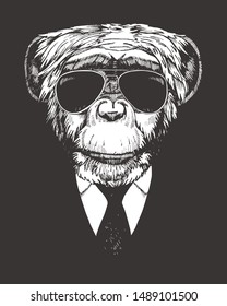 Portrait of Monkey in suit. Hand-drawn illustration. Vector