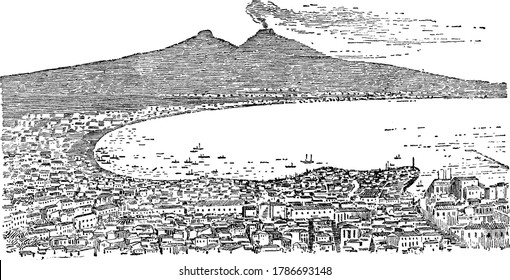 Portrait of Mount Vesuvius emitting smoke from it at Bay of Naples, vintage line drawing or engraving illustration.
