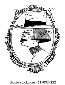 Portrait of a mysterious woman. Black and white illustration on a poster and on a T-shirt.
