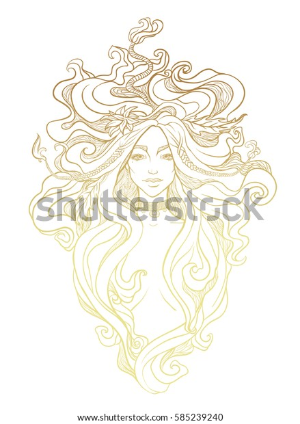Portrait of mystic girl. Hand drawn beautiful artwork. Paganism, spirituality, decorative tattoo art, coloring books. Isolated vector illustration. Print for textiles and printing