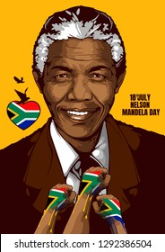 Portrait of Nelson Mandela, born on 18 July 1918, The first president to be elected according to the democratic process correctly, Served as the Federal Prime Minister during 1994-1999.