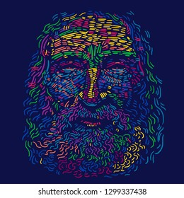 Portrait of Old Man with a beard. Abstract vector illustration with large strokes of paint