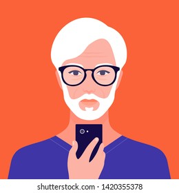 Portrait of an old oriental man with a phone. Addiction on the smartphone and the Internet. Social networks. Avatar of an Asian retiree. Vector flat illustration
