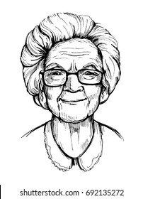 Portrait of an old woman, pensioner. Grandma. Hand drawn vector illustrtion