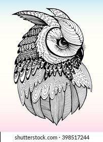 Portrait of an owl. Owls Head. Abstract bird. Print. Profile. Decorative. Stylized. Line art. Drawing by hand. Black and white. Isolated. Tattoo.