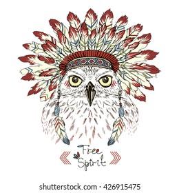 portrait of owl in war bonnet, animal illustration, aztec poster