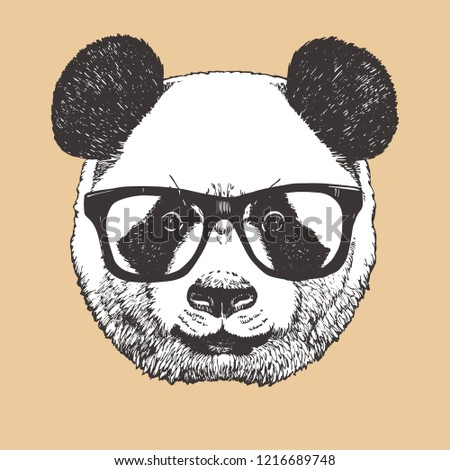 b81535771b5c Royalty-free stock vector images ID  1216689748. Portrait of Panda with  glasses