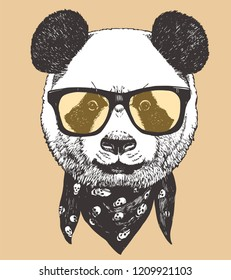 Portrait of Panda with glasses and scarf, hand-drawn illustration, vector