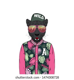 Portrait of Panther man dressed up in bomber jacket sunglasses and cap. Anthropomorphic urban fashion wild cat animal illustration. City Hipster Black Leopard.