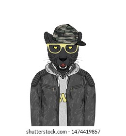 Portrait of Panther man dressed up in leather jacket hoodie and cap. Anthropomorphic urban fashion wild cat animal illustration. City Hipster Black Leopard.