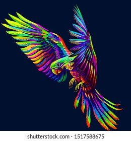 Portrait of a parrot in flight. Abstract, multi-colored image on a dark blue background.