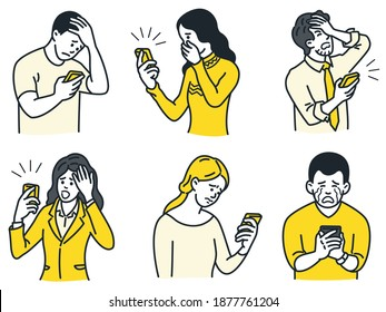 Portrait of people, man and woman, holding and looking at smartphone with negative emotion expression, sad, unhappy, crying, shocked, disappointed, displeased. Outline, linear, thin line art.