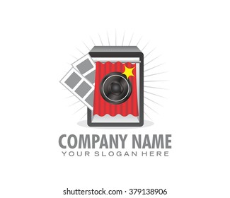portrait photo booth camera image icon vector
