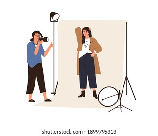 Portrait photography backstage. Female photographer taking photo or shooting professional model posing in studio with professional pulse light. Flat vector illustration isolated on white background