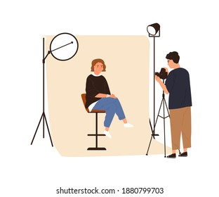 Portrait photography backstage. Male film photographer taking photo or shooting woman posing in studio with professional pulse light. Colored flat vector illustration isolated on white background