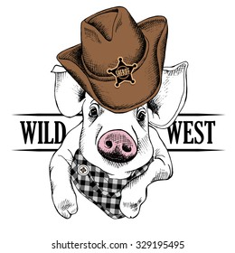 Portrait of a pig in cowboy hat and checkered cravat. Vector illustration.