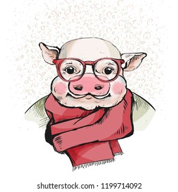 Portrait of a piggy. Sweet piglet with plump pink cheeks. Serious, with glasses. On the neck is a scarf. For a greeting card and year design. Happy new year