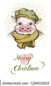 Portrait of a piglet. On its head a round soft cap. Ears stick out from under a hats. On the beret yellow bow. Pig wrapped in a knitted scarf mustard color. For a greeting card. Happy new year