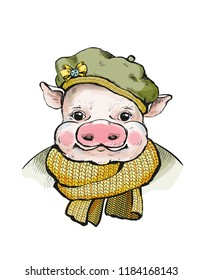 Portrait of a piglet in a round soft cap on head. Ears stick out from under the hats. On the beret yellow bow-knot. Pig, wrapped in a knitted scarf mustard color. Illustration for a greeting card