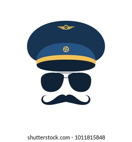 Portrait of pilot with mustache in cap and glasses. Vector illustration.