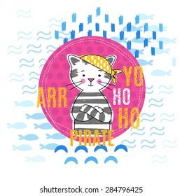 Portrait pirate kitten in a yellow bandanna vector illustration.Girl design.