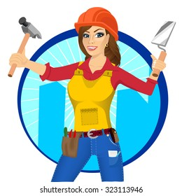 portrait of plasterer woman with orange helmet holding paint roller in one hand and trowel in other hand isolated over white background