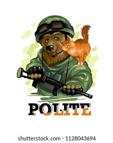 Portrait. Polite Russian bear in military uniforms holds a red cat. Vector illustration.