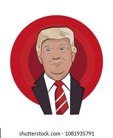 Portrait of President Donald Trump. Vector illustration.