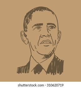Portrait of the President of USA Barack Obama. Vector freehand pencil sketch. Brussels, March 26, 2014.