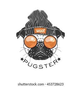 portrait of pug boy hipster, hand drawn animal illustration