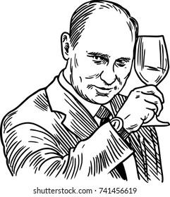 portrait of Putin illustration vector