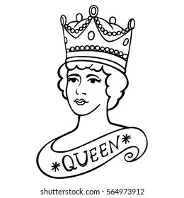 The portrait of Queen vector illustration. Illustration can be used for the design of souvenirs, notebooks, posters, postcards, etc.