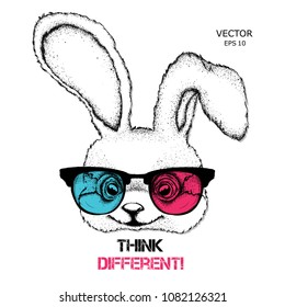 Portrait of the rabbit in the colored glasses. Think different. Vector illustration.