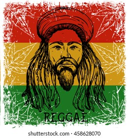 Portrait of rastaman on grunge background and cannabis leaves. Jamaica theme. Reggae concept design. Tattoo art. Retro banner, card, t-shirt, bag, print, poster. Hand drawn vector illustration