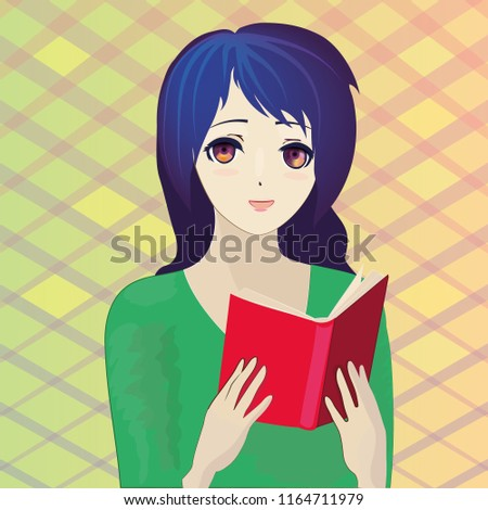 Portrait Of Reading A Book Anime Girl Vector 10 Eps