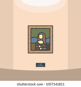 Portrait of renaissance women Mona Lisa. Leonardo Da Vinci paintings. Gallery. Wooden frame and old famous classic masterpiece picture. Museum vector line style vector.