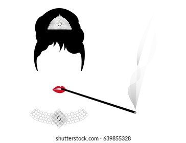 portrait retro woman, diva with Pearl jewelry, minimal Audrey , vector illustration
