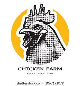 Portrait of a rooster head.  Black and white illustration. Realistic vector image of poultry chicken as a design element for logo, icon, template, label.