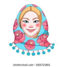 Portrait of a Russian beauty in a traditional blue scarf with pink flowers in the style of hand-drawn. Vector image isolated on white.