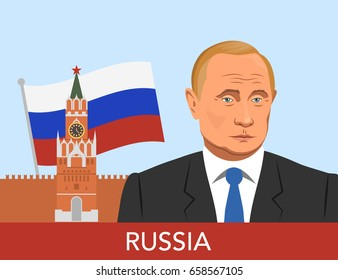 Portrait of Russian President Vladimir Putin in cartoon style against the background of the Kremlin and flag
