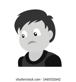 Portrait of sad boy. Baby boy color vector illustration. Flat design.